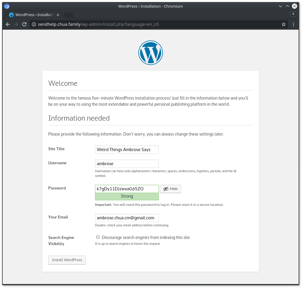 Eng/index.php/trackback - Fill Up Your Information Remember The Password And Click On Install Wordpress You Re Done Visit The Admin Page Http Localhost Wp Admin And Log In